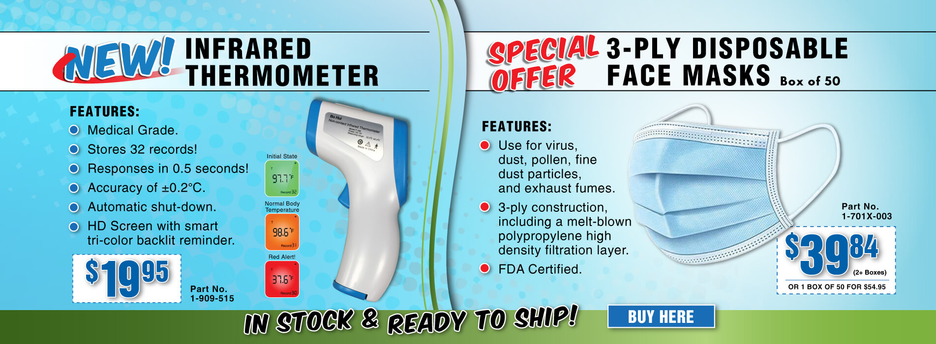 3-Ply Disposable Face Masks - Non-Contact Infrared Thermometer
