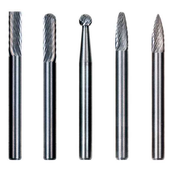 SH-5 Tungsten Carbide Burr Rotary File Flame/ Shape Double Cut with 1//4Shank for Die Grinder Drill Bit