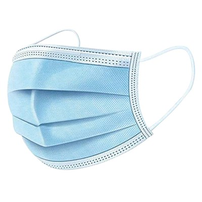 3-PLY DISPOSABLE FABRIC MASK BOX/50